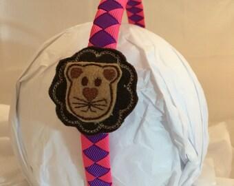 Headband- lion Headband - lion- pink purple Headband- Hair Accessory- jungle- gift for girl- stocking stuffer- pink lion- jungle birthday