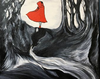 Through The Woods - Original acrylic painting by Teresa Ringering - Little Red Riding Hood fairy tale - Big Bad Wolf - Grimm
