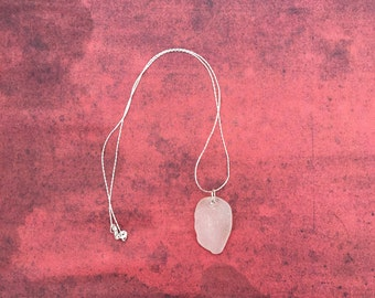 Sea Glass Necklace - Frosty White Pendant