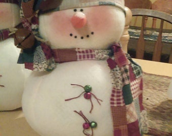 """Handmade snowman approximately 13"""" tall x 10"""" or so around"""