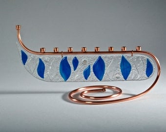 Hand Crafted Copper Bar Menorah with Iridescent fused glass