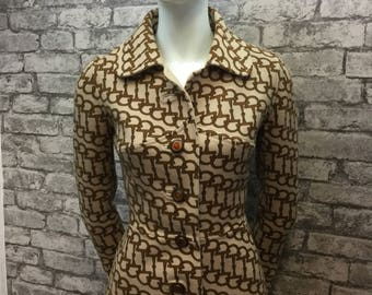 Rare stunning Gucci 1960s wool buckle monogram coat 6-8