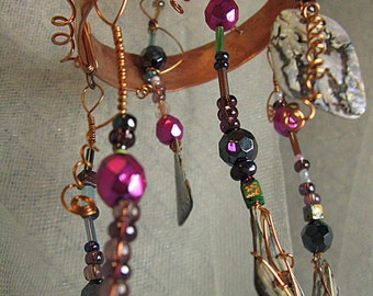 Whimsically Mesmerizing Copper, Wire, Crystal & Shell Bead Mobile - WMCoMob3