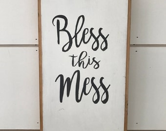Bless This Mess - Antique Jewelry Drawer, Repurposed - Wood Sign