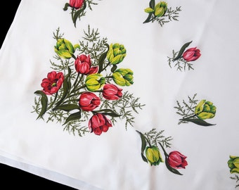 Vintage white tablecloth with print tulips