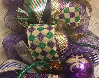 Mardi Gras garland - Mardi Gras Decor - Fat Tuesday Decor - Mardi Gras Ball Garland - Mesh Garland