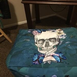 Sugar Skull Shower Curtain Black White Roses Calavera Skull