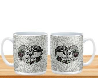 Forevermore Sugar Skull  Mugs Cups, Day Of The Dead , Kissing Skulls