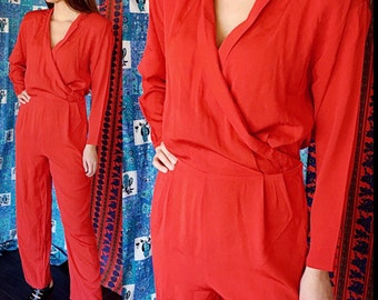 Party Jumpsuit Disco Red Jumpsuit 80s Evening Jumpsuit