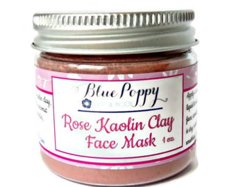 Rose Kaolin Clay Mask, Face Mask, Facial Cleanser, Dry Mask, Cleansing Grains