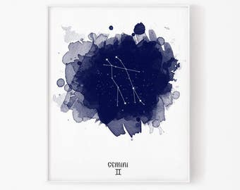 Gemini Constellation, Gemini zodiac, Zodiac Constellation, Stars constellation, Astronomy Watercolor, Printable poster, Digital print