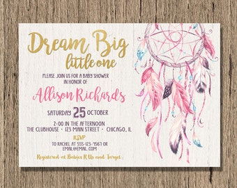 dreamcatcher Baby shower invitation girl, boho baby shower invite, tribal aztec dream catcher baby girl rustic dream big printable digital