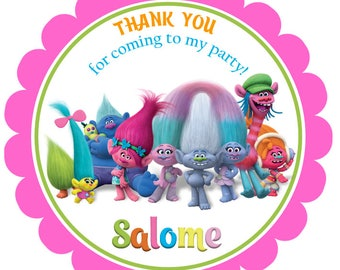 Printable Trolls Favor Tags, Digital Trolls Thank you Tags, Trolls Gift Tags, Trolls Tags, Trolls Movie Tags, Trolls Birthday, Trolls Party.