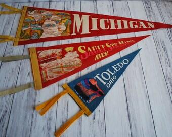 Vintage Pennants, Felt Vacation Travel Pennants, Chose From Sault St. Marie or Toledo Ohio, Vintage Souvenir Pennants