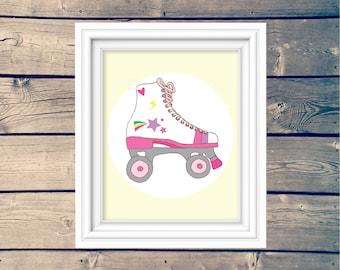 Vintage Roller Skate Print, 80's Roller Skate Printable Wall Art, Digital Download, Kid's Roller Skate Sign, Roller Derby Wall Decor Nursery