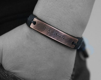 Mens Personalize Bracelet, I AM Yours Custom Leather Bracelet, Engraved Bracelet, Bracelet For Men, Cuff Bracelet