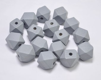20pc Grey Geometric Wood Beads,Hand Painted wood Beads 15mm,Polygonal,spaced beads,DIY Geometric necklace/keyring,Make jewellery for selling