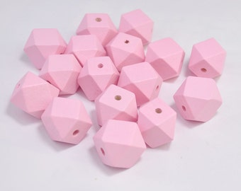 20pc Light pink Geometric Wood Beads,Hand Painted wood Bead 20mm,spaced bead,DIY Geometric necklace/keyring,Make jewellery for selling