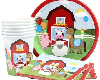 Adorable Country Farm Birthday Party Celebration Pack Service For 16 - Includes Tablecover! Oink Oink Moo Moo