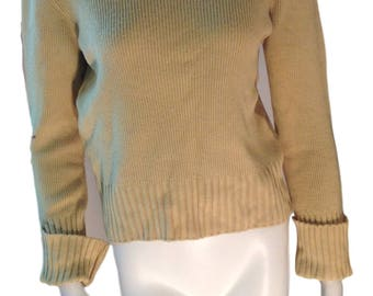 Miss Bergdorf Womens Yellow Wool Blend Turtleneck Sweater - Made in Italy - Size Small