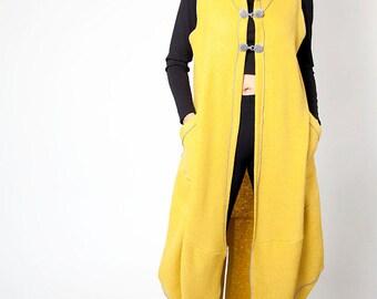 Handmade Mustard Coat with Hoodie