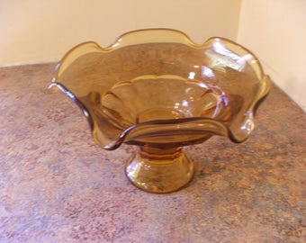Vintage 1960s Viking Glass Epic Georgian Compote / Candy Dish in Amber