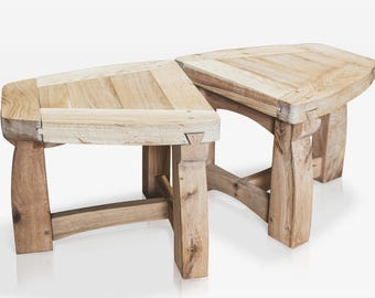 Handcrafted Solid Green Oak Side Tables