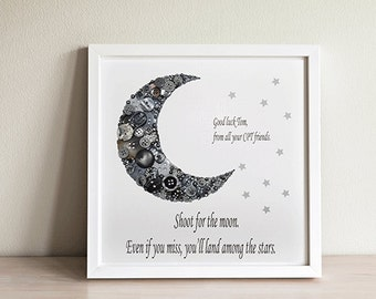 Reach for the Moon Print ~Button Moon Art ~ Moon Print ~ Childrens Bedroom Decor ~ Framed Moon Print ~Space Wall Art~ Newborn Gift ~Birthday