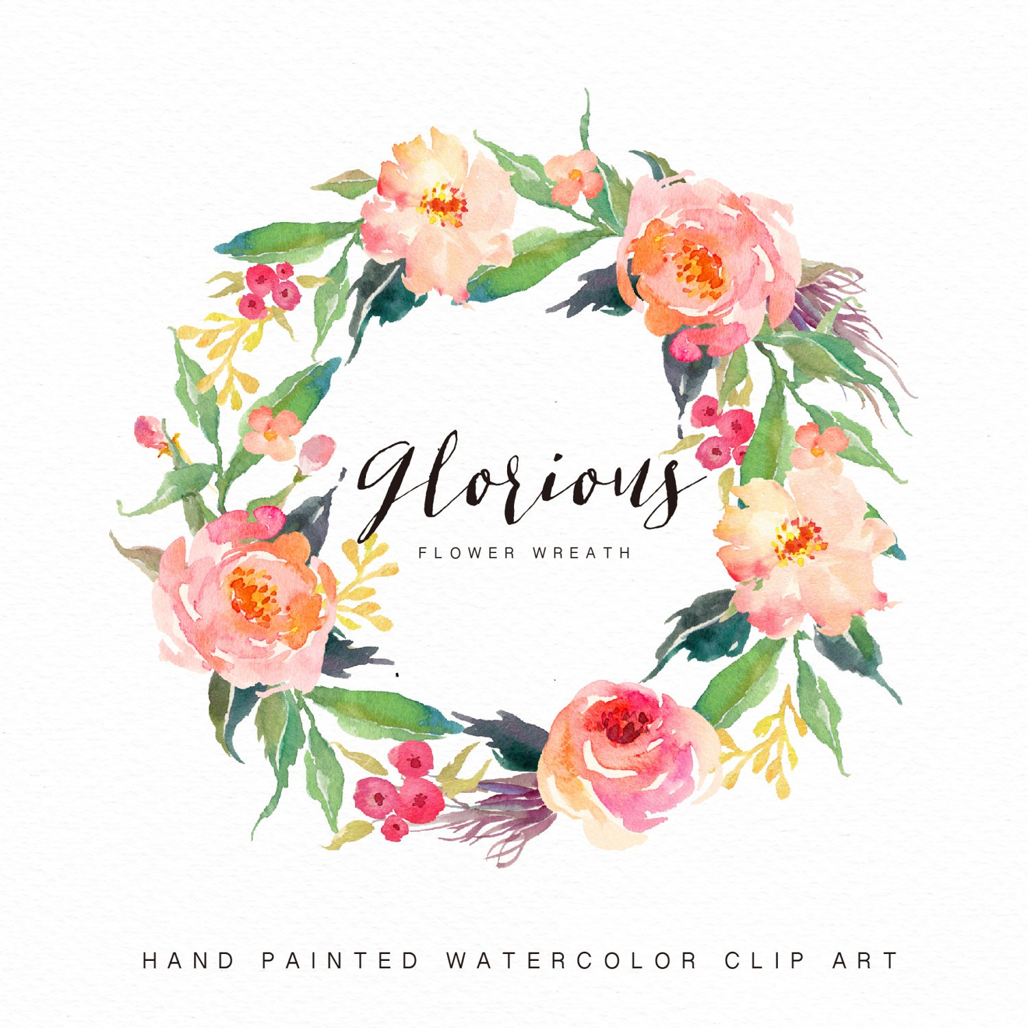 Watercolor Flower Wreath-glorious//Individual PNG Files/Hand