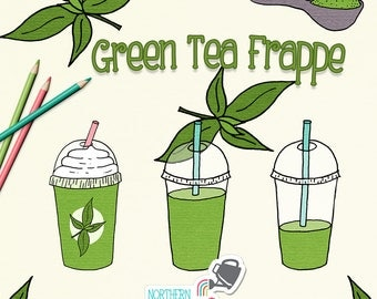 Green Tea Frappe Clip Art - summer clipart with iced drinks and tea leaves - hand drawn drink illustrations - commercial use CU OK
