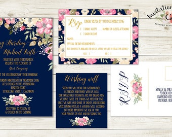 Digital Wedding Invitation NAVY GOLD and PINK floral pink watercolour wedding invitation design.