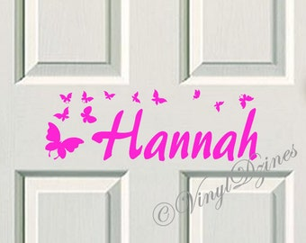 Kids Door Sign, Kids Door Decal, Name Door Decal, Name Sticker, Butterfly Kids Name Decal, Bedroom Door Sticker WD-1001