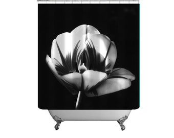 Photo Shower Curtain Etsy - Black and white flower shower curtain