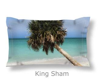 Coastal Pillow Sham-Palm Tree Pillow Sham-Tropical Bedding-Beach Bedding-Microfiber Sham-Standard Sham-King Sham-Beach Sham-Blue-Teal-Green