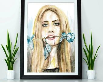Miss Lana - watercolour painting print