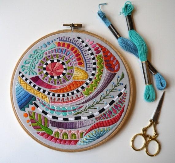 Cousu de main multicolore 7» «Doodle» cercle à broder (numéro 2)