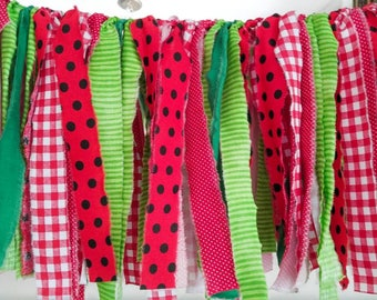 Fabric Garland Banner - Watermelon, Picnic, Summer, Red and Green - *Ready To Ship*