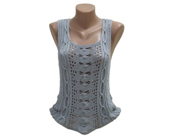 Grey crochet top - Dressy sequin top - Sleeveless blouse - Hand knit sequin blouse