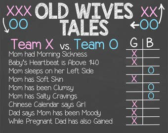 X'S vs. O'S Old Wives Tales Gender Reveal Chalkboard -  Teams Old Wives Tales - Gender Prediction