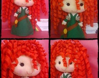 Brave, Mérida, felt doll, mimizuku art