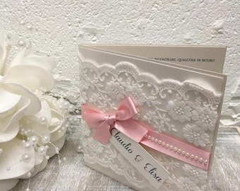 Lace and Pink Wedding Invitation Package, Pretty wedding invites, Pink wedding invitations, pink and ivory wedding invitations, lace invites