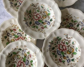 Vintage Royal Doulton China Soup Bowls, Monmouth, s/8 | floral transferware, rimmed soup bowls, english floral china bowls, made in england