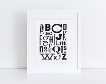 Modern Typography Alphabet - Black and White Nursery Art  - 8x10 - Instant Download - Digital Print
