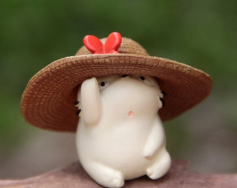Studio Ghibli Konyara White Cat in Hat Figure for Miniature Terrarium, Fairy Garden DIY craft supply