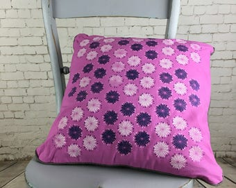 cushion, pink cushion cover with faux antique brown leather, hand dyed, hand printed silkscreen flower design