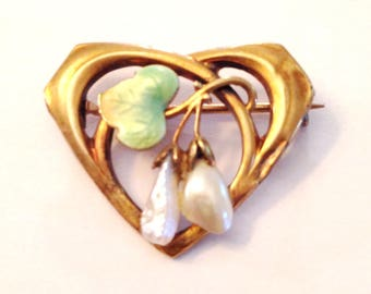 Art Nouveau Krementz Enamel Pearl Pin in 14k Gold with Hearts and Flowers