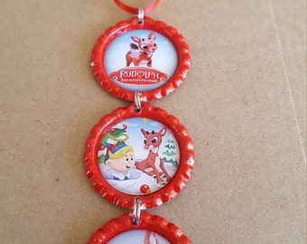 Rudolph the Red Nosed Reindeer Bottle Cap Christmas Tree Ornament