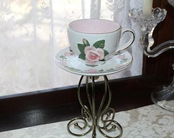 Vintage FTD Pink Rose Teacup Standing Centerpiece or Candleholder, Wedding,  Bridal, Baby Shower, Wonderland, Victorian Tea Party Decoration
