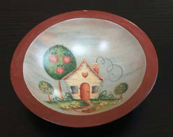 Painted wooden bowl, adorable decorative bowl, not food safe.