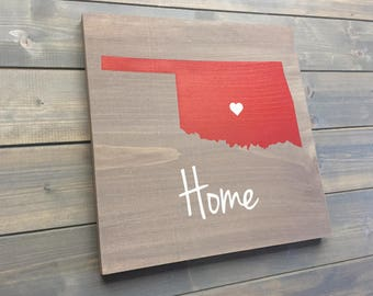 Pick Colors, Oklahoma Wood Sign, Oklahoma plaque, Hand Painted, State Guest Book, Oklahoma decor, Oklahoma sign, Oklahoma art